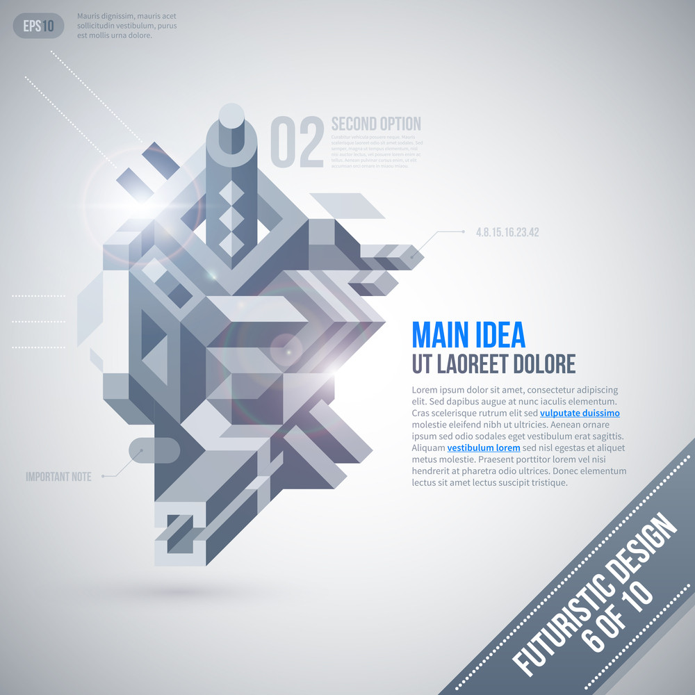 Futuristic Design Template With Geometric Element. 6 Of 10. Eps10.