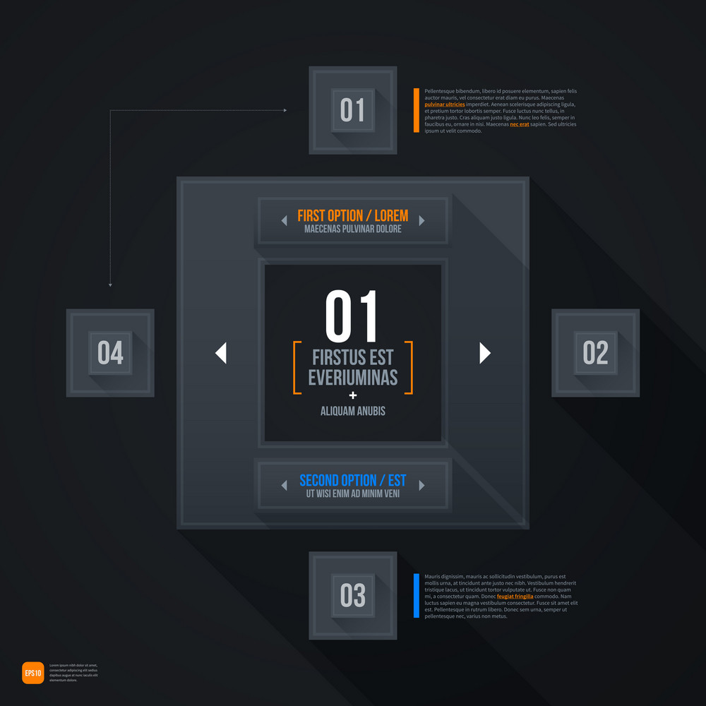 Dark Futuristic Web Template. Eps10