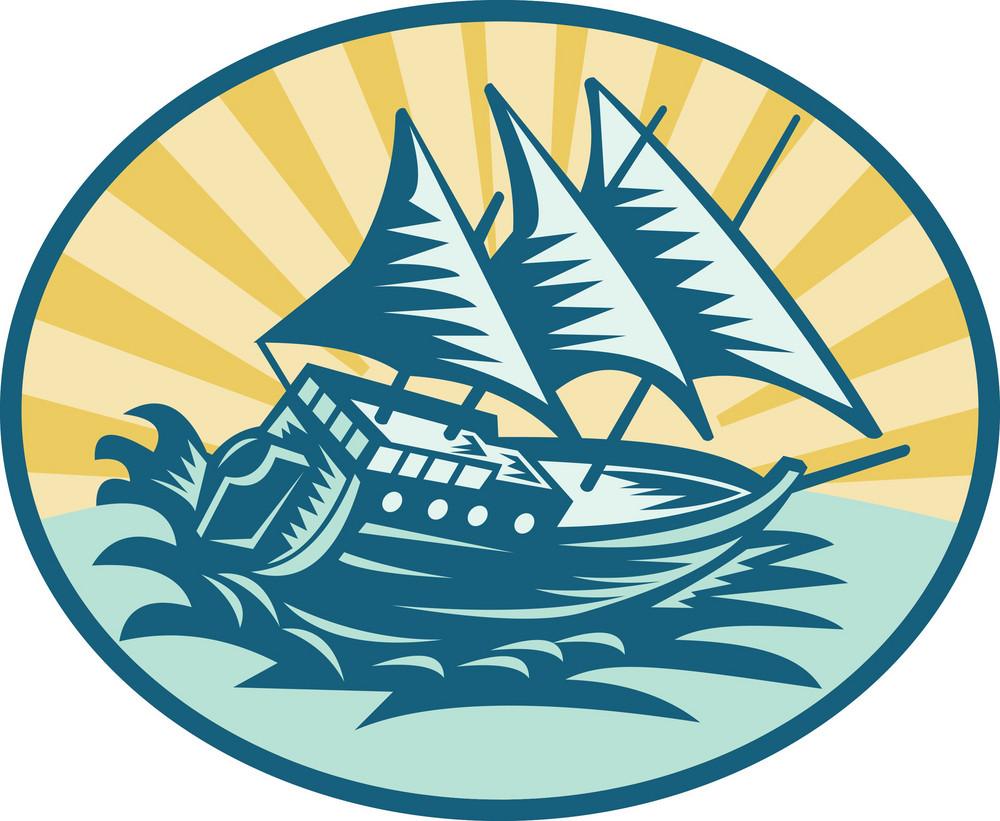 Galleon Historical Ship Sailing The Big Waves