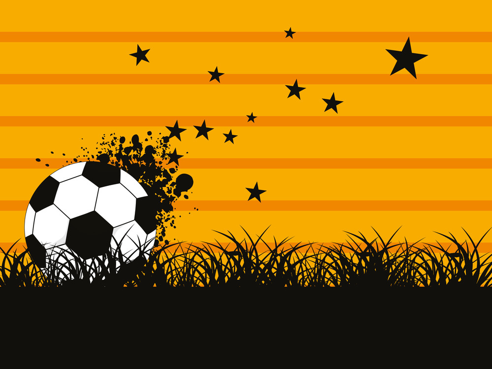 Garden Background With Grungy Football