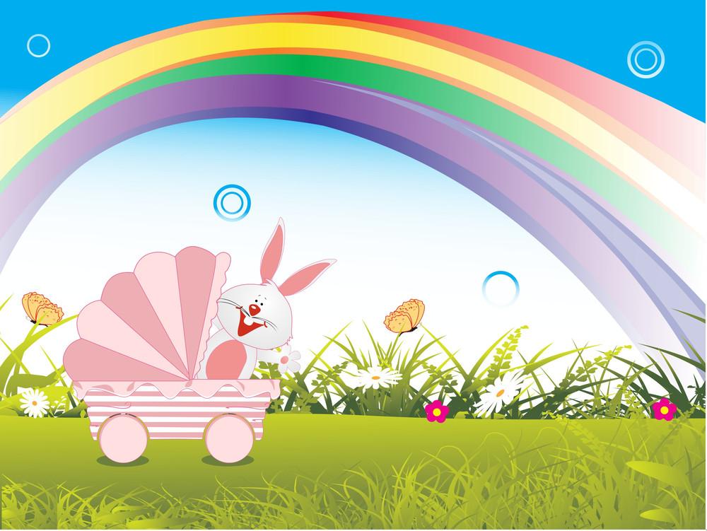 Garden Background With Rainbow