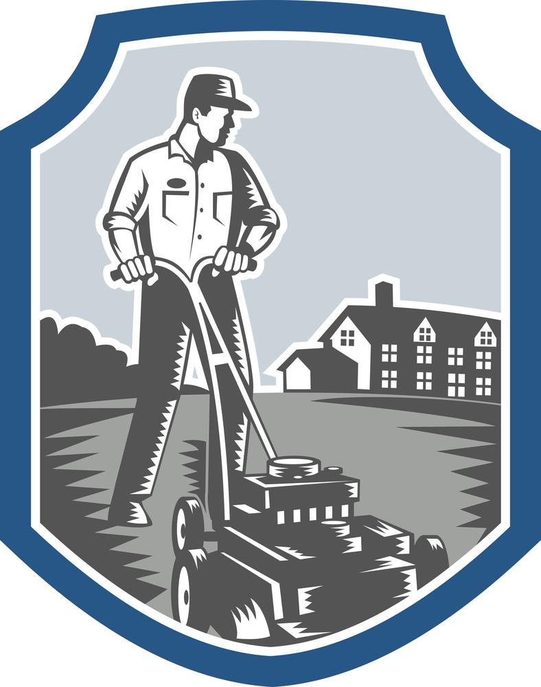 Gardener Mow Lawn Mower Woodcut Shield