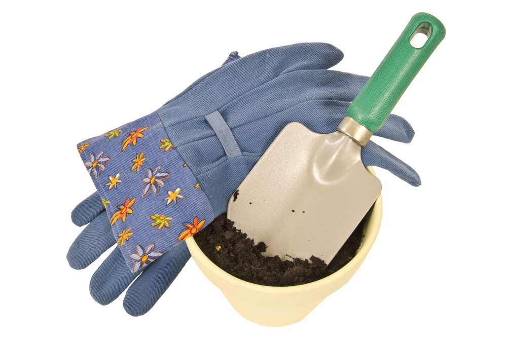 Gardening Gloves and Trowel With Pot of Dirt