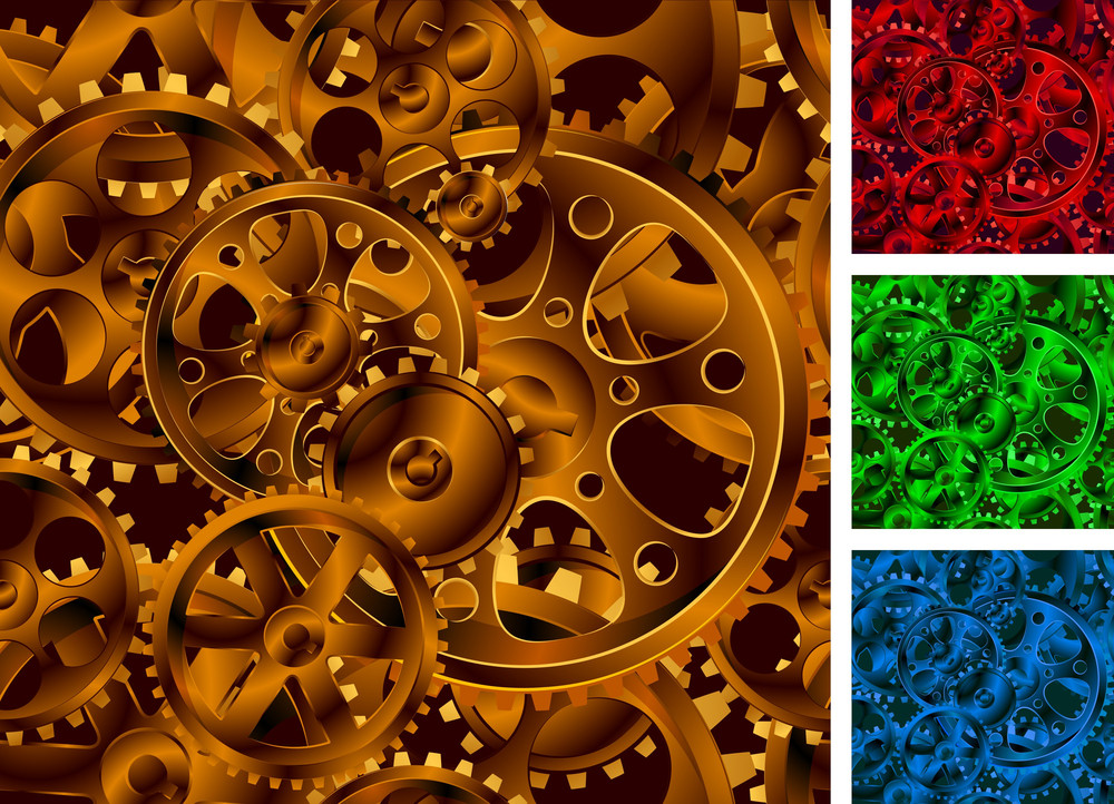 Gear Wheels Seanless Vector Background.