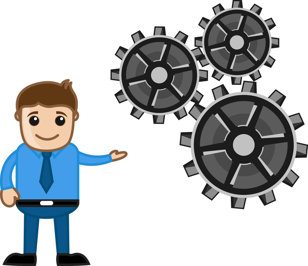 Gears - Process Concept - Cartoon Vector