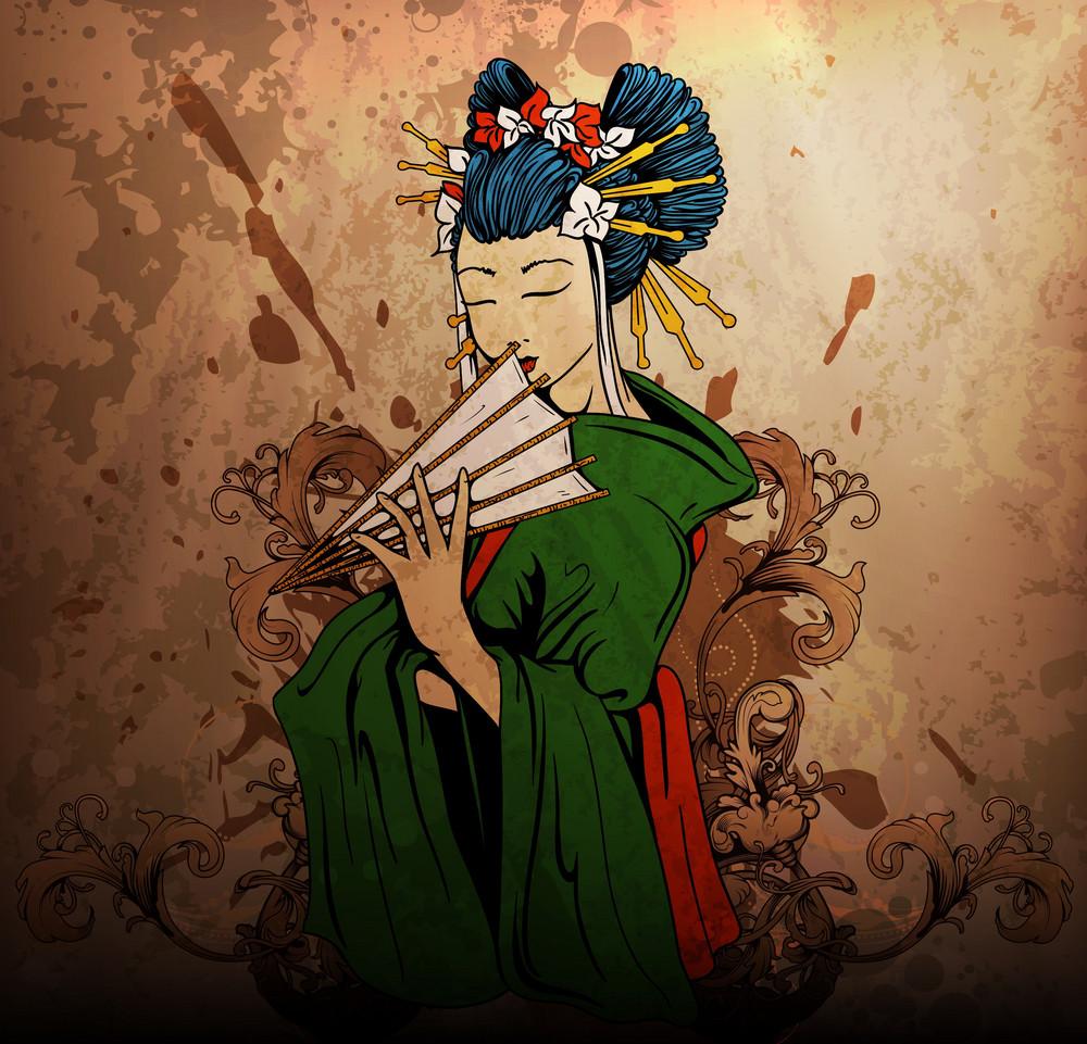 Geisha On Grunge Background Vector Illustration