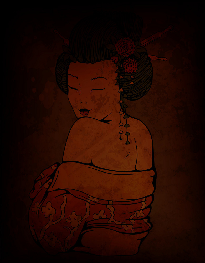 Geisha On Grunge Background Vector Illustration