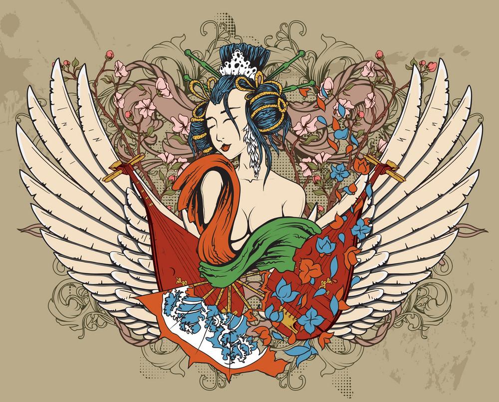 Geisha With Floral Vector Illustration
