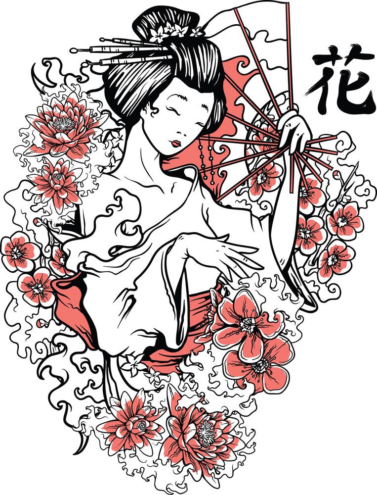 Geisha With Floral Vector T-shirt Design