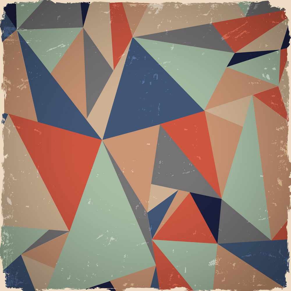 Geometric Grunge Background In Retro Colors