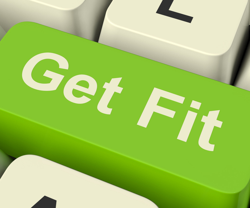 Get Fit Computer Key Showing Exercise And Working Out For Fitness