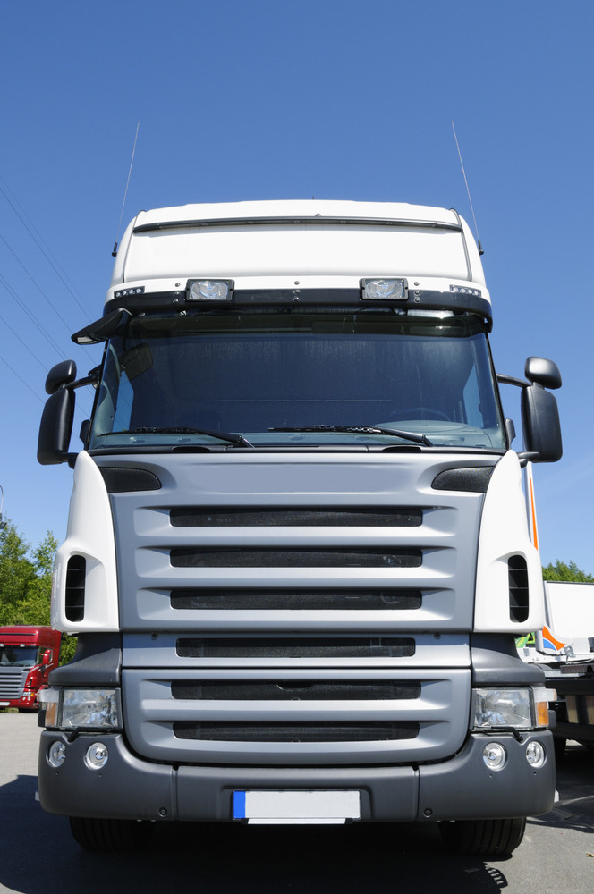 giant white truck, frontal view