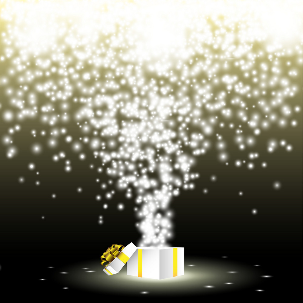 Gift Box With Fireworks From Lights