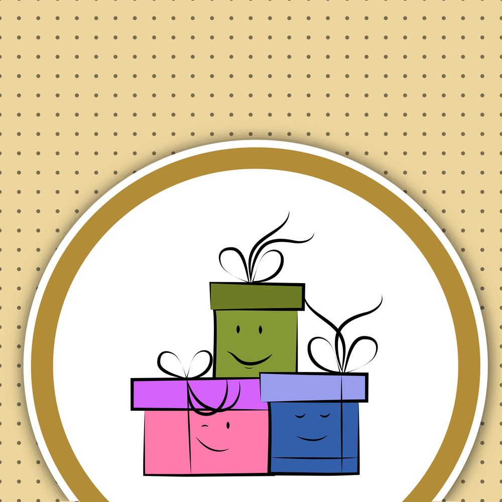 Gift Boxes Decorated With Smileys On Dotted Brown Background