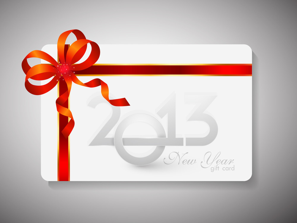 Gift Card For Happy New Year Celebration With Red Ribbon.
