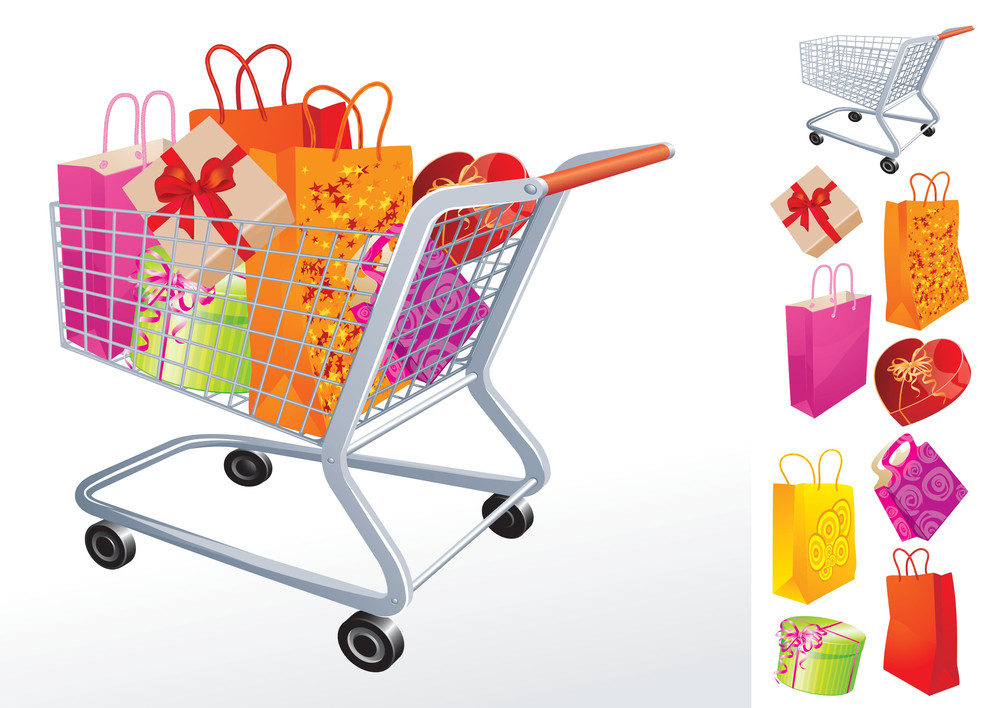 Gifts In Supermarket Cart. Vector.