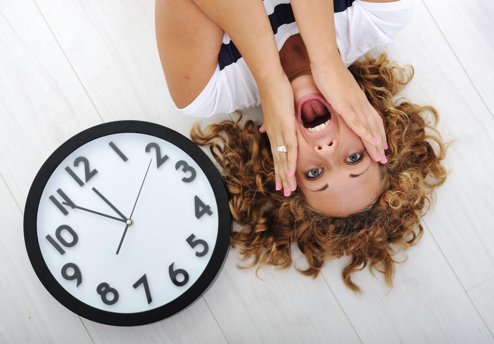 Girl and clock panic
