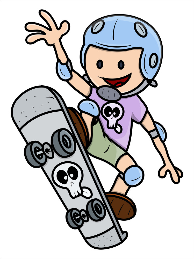 Girl Child Skateboarding - Kid Vector Cartoon Illustration