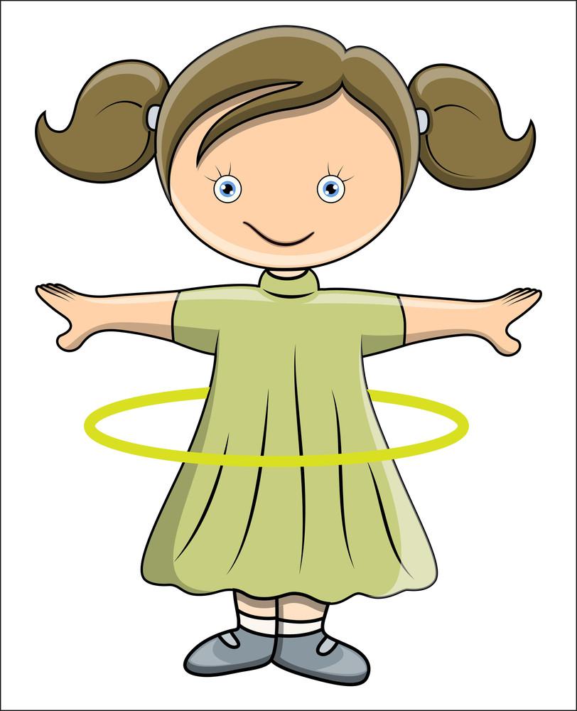Girl Doing Hula Hoop - Vector Cartoon Illustration