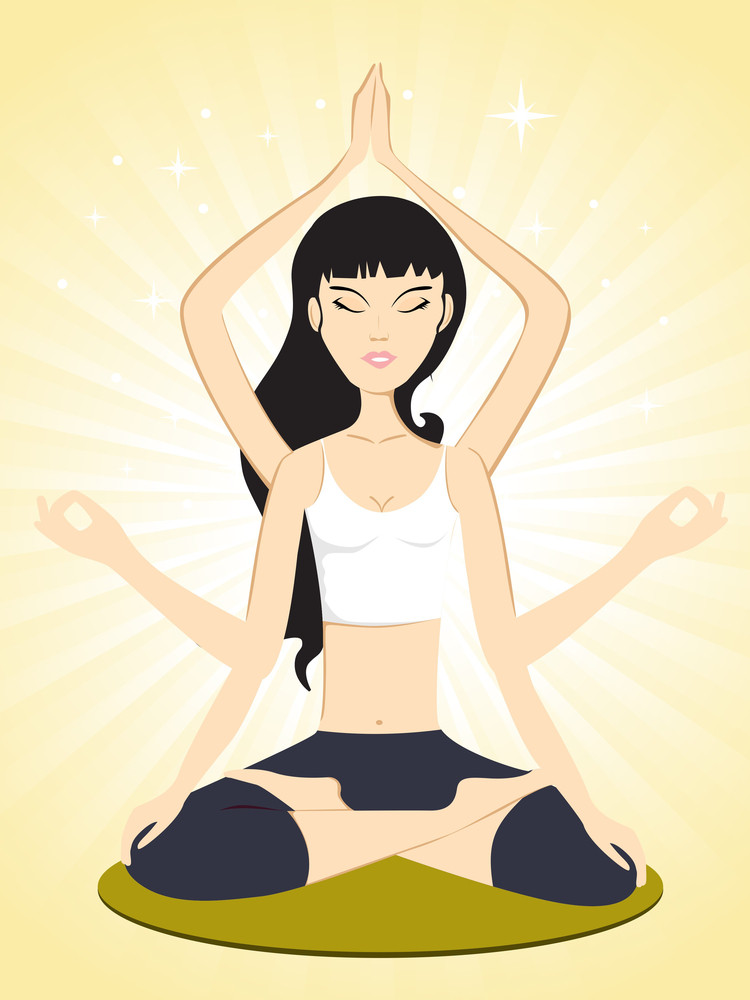 Girl Doing Yoga With Abstract Yellow Background