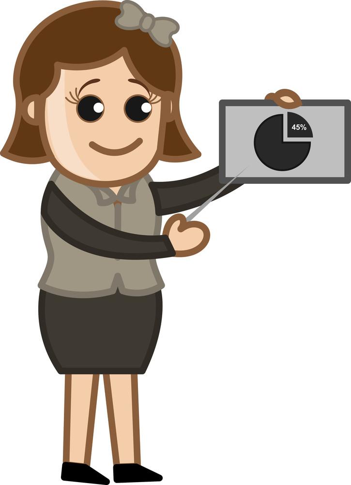 Girl Explaining Stats - Cartoon Bussiness Vector Illustrations