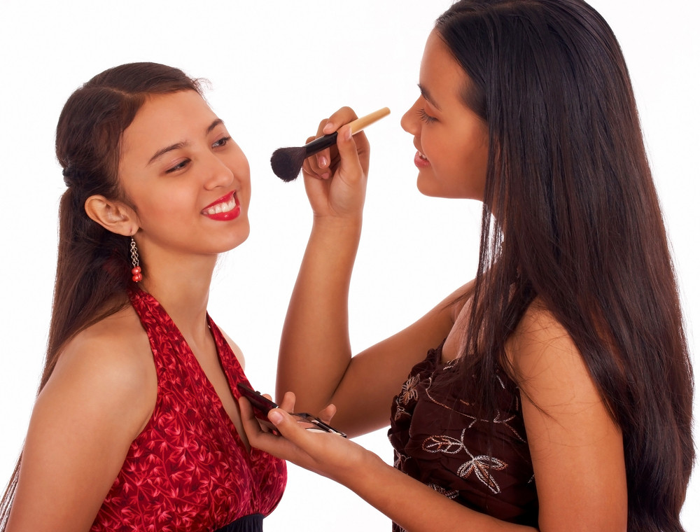 Girl Giving Her Friend A Make Over