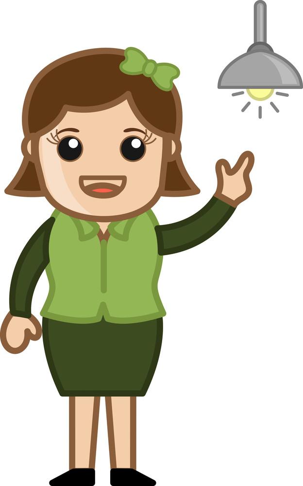 Girl Got An Idea - Bulb Concept - Cartoon Bussiness Vector Illustrations