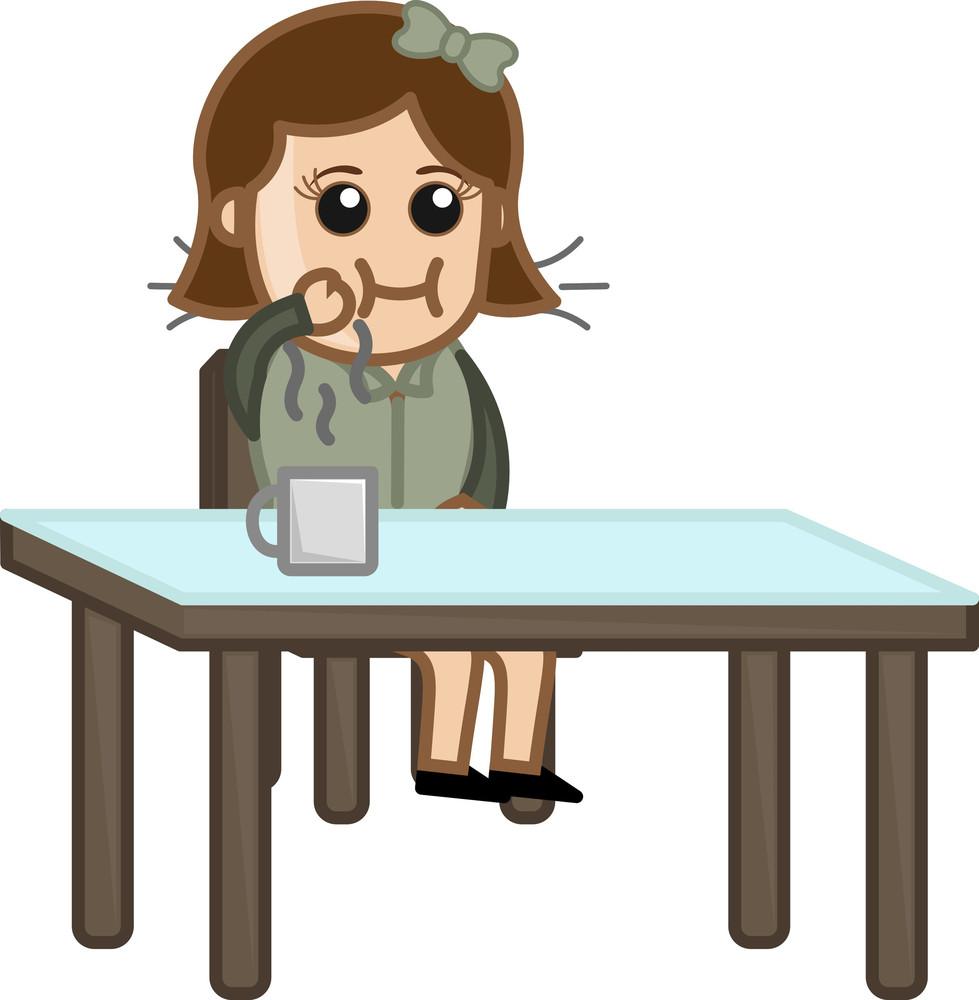 Girl Having Breakfast And Tea - Cartoon Business Vector Character