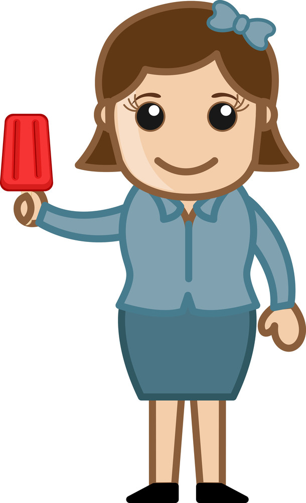 Girl Having Icecream - Cartoon Business Vector Character