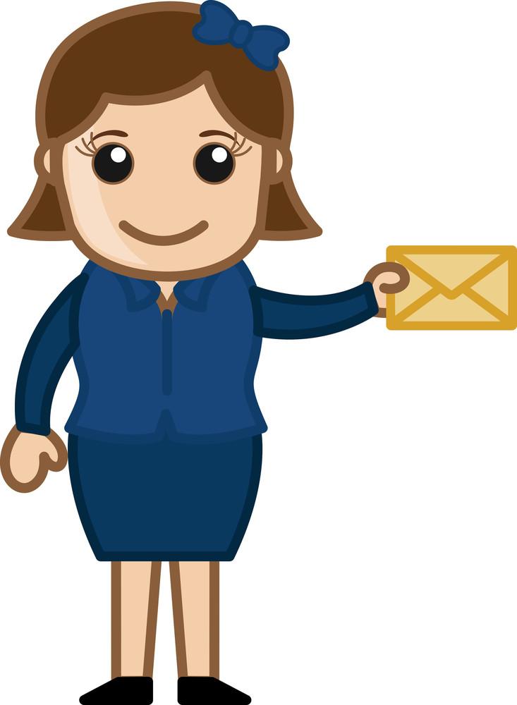 Girl Holding Envelope - Cartoon Vector