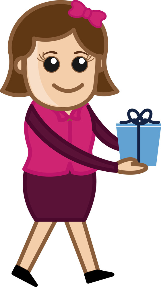 Girl Holding Gift - Cartoon Business Character