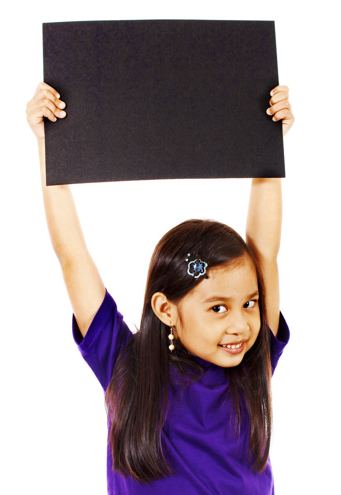 Girl Holding Up A Blank Board