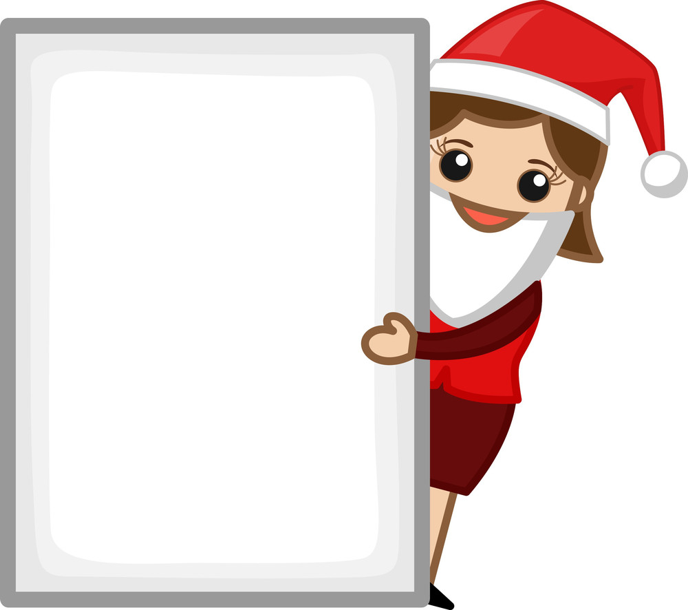 Girl In Santa Costume - Business Cartoon Characters
