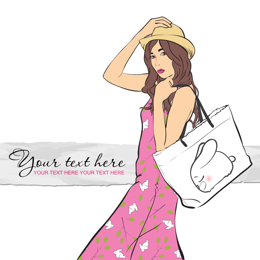 Girl In Sketch Style. Vector Illustration.