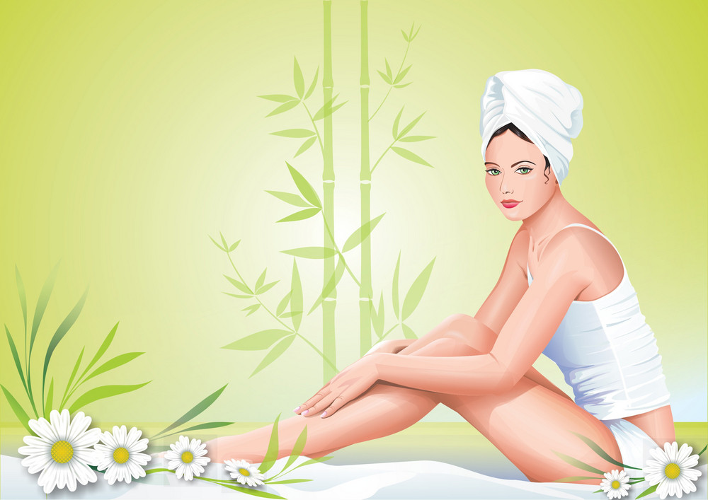 Girl In Spa Vector