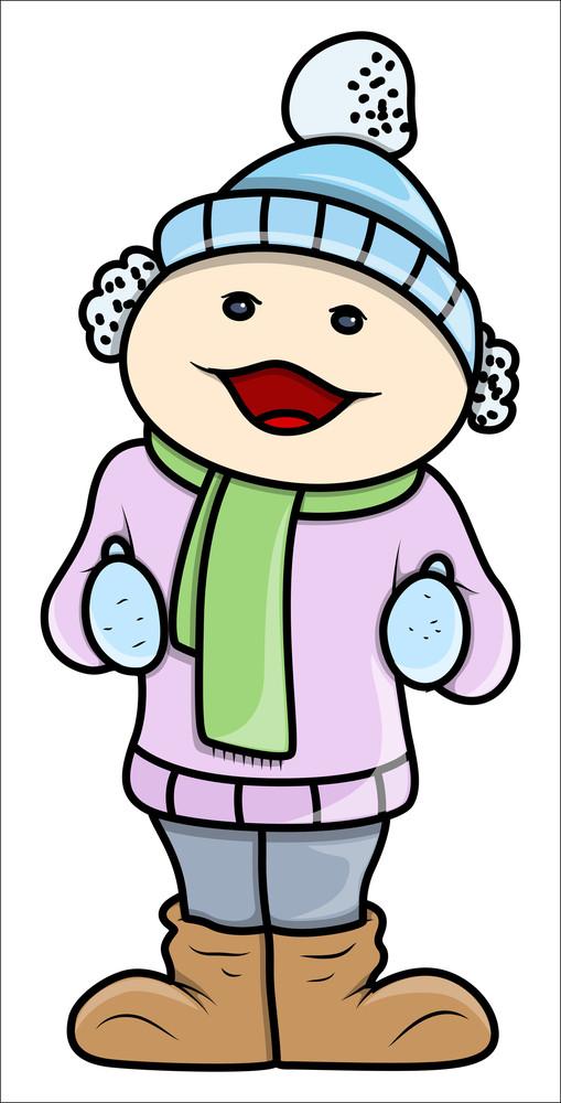 Girl Kid In Winter Cloths - Vector Cartoon Illustration
