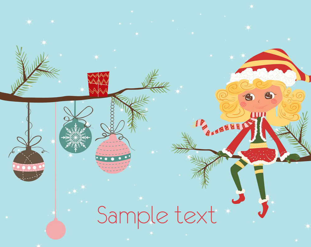 Girl On A Branch Vector Christmas Background