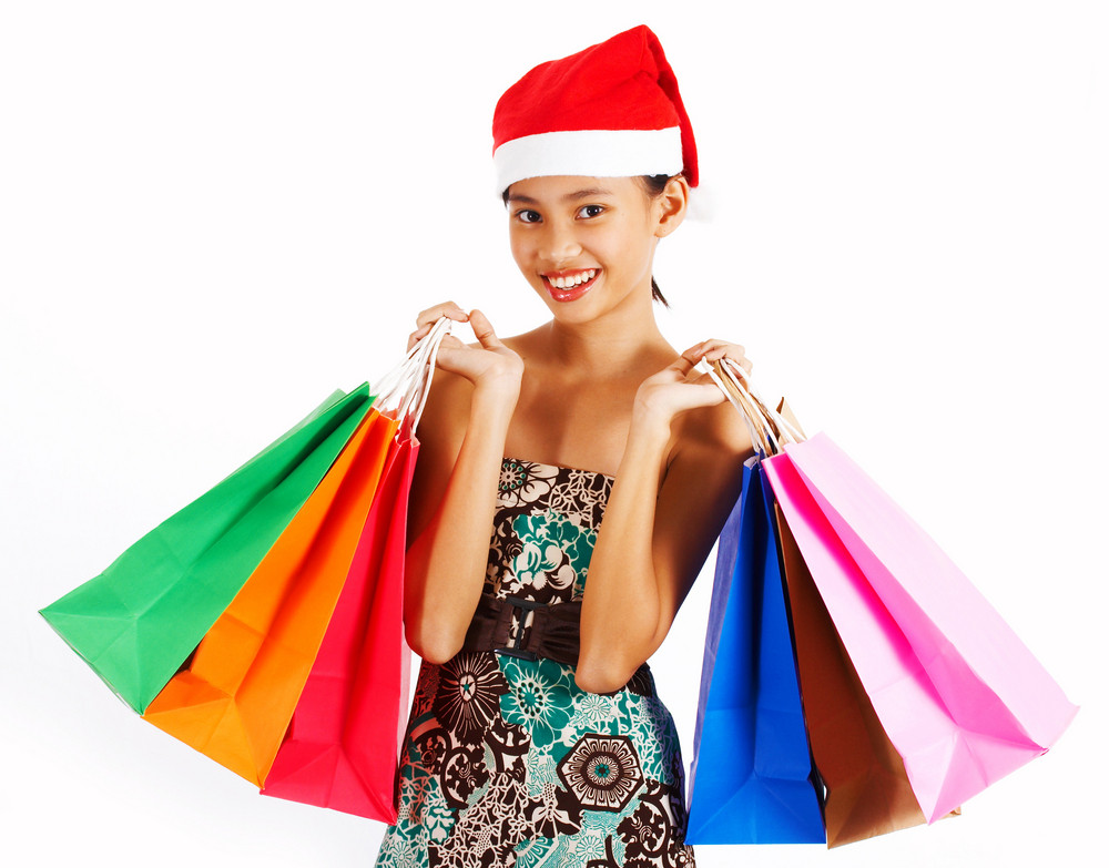 Girl On A Christmas Shopping Spree