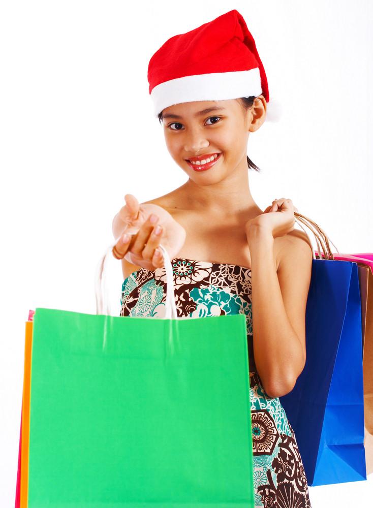 Girl On A Christmas Shopping Spree