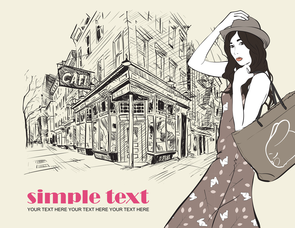 Girl On A Street-cafe Background. Vector Illustrator.
