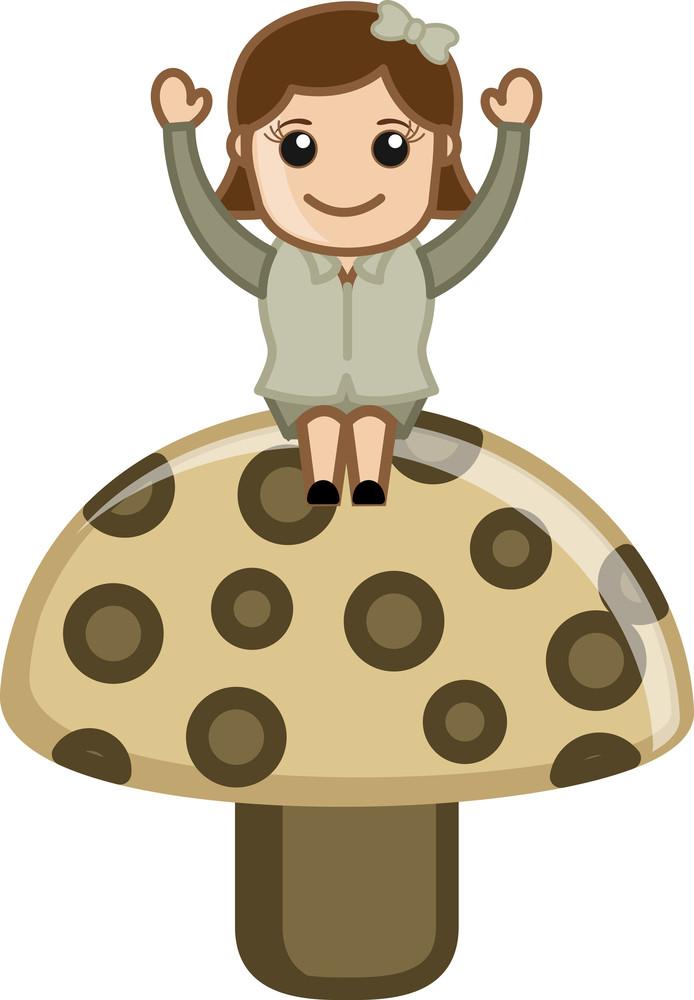 Girl On Mashroom - Cartoon Business Vector Character