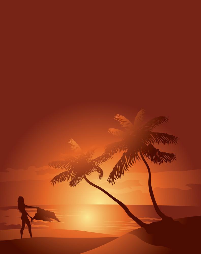 Girl On The Wild Tropical Beach