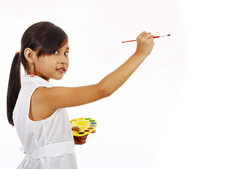 Girl Painting On A Blank Board