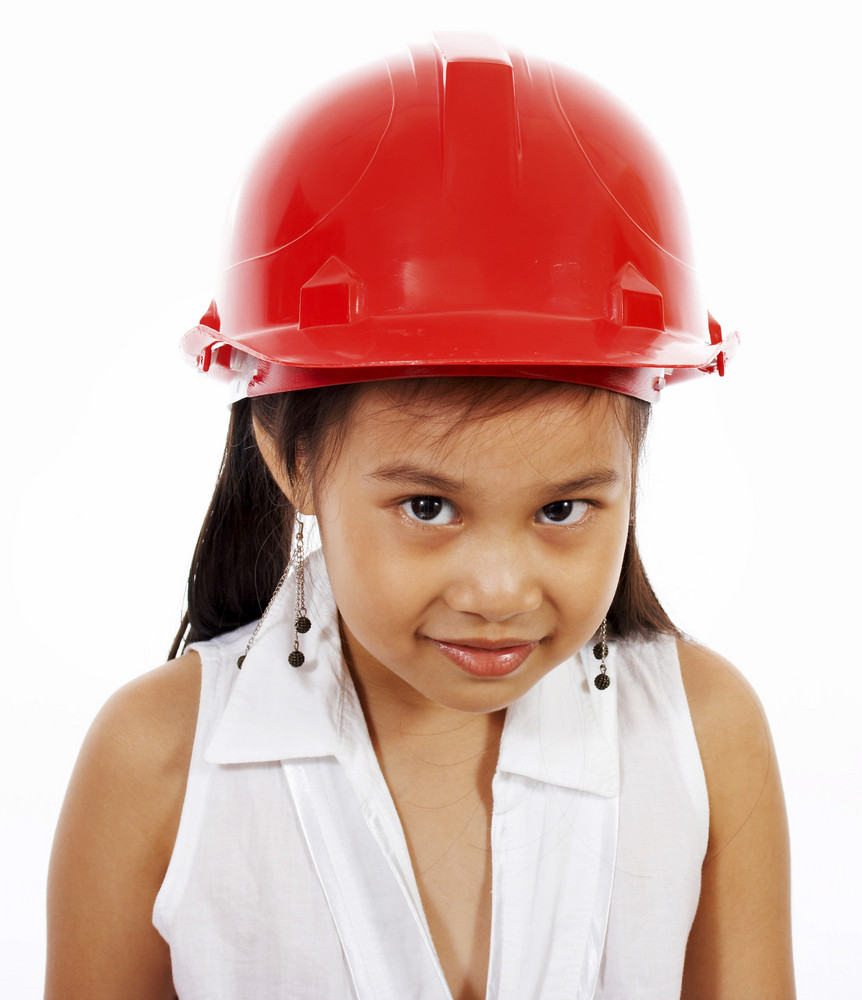 Girl Playing At Being An Engineer