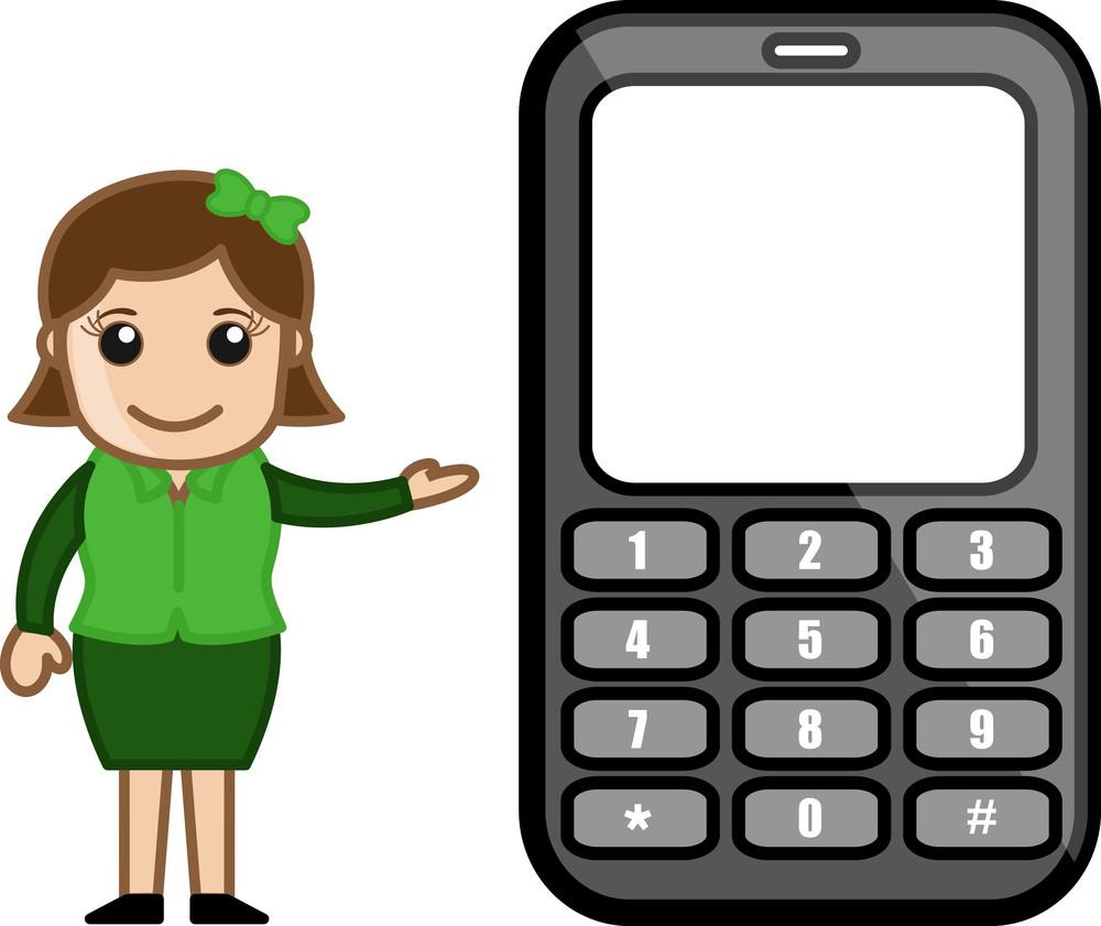 Girl Presenting Phone - Vector Illustration