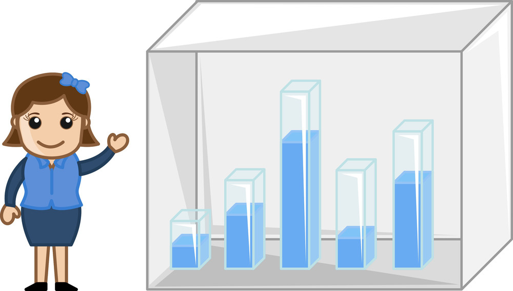 Girl Showing 3d Graph Bars - Cartoon Bussiness Vector Illustrations