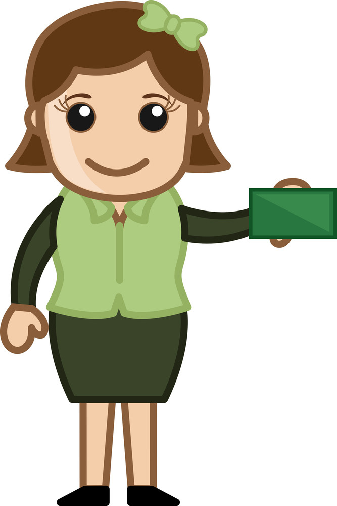 Girl Showing Business Card - Cartoon Bussiness Vector Illustrations