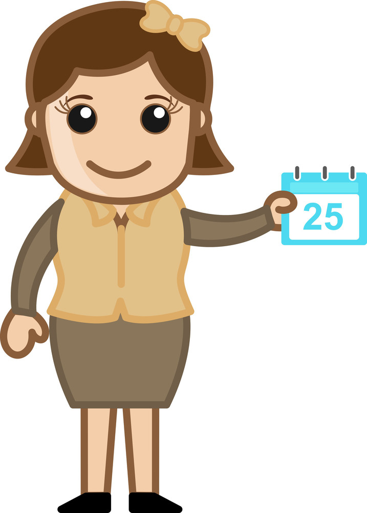 Girl Showing Calender - Shedule Concept - Cartoon Bussiness Vector Illustrations