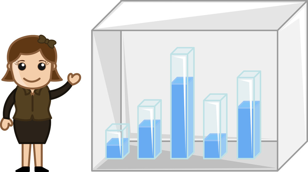 Girl Showing Graph Bar - Business Cartoon Character Vector