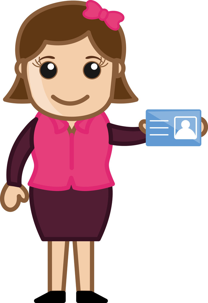 Girl Showing Her Identity Card - Cartoon Bussiness Vector Illustrations